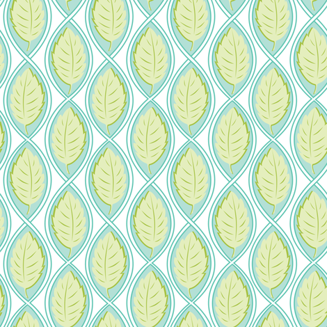 Leaf Spiral turquoise fabric by jillbyers on Spoonflower - custom fabric