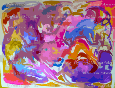 Large Print Bright Abstract in Hot pink, Blue, Violet, Orange