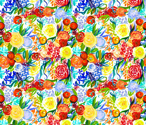 Neon Autumn Floral  fabric by theartwerks on Spoonflower - custom fabric
