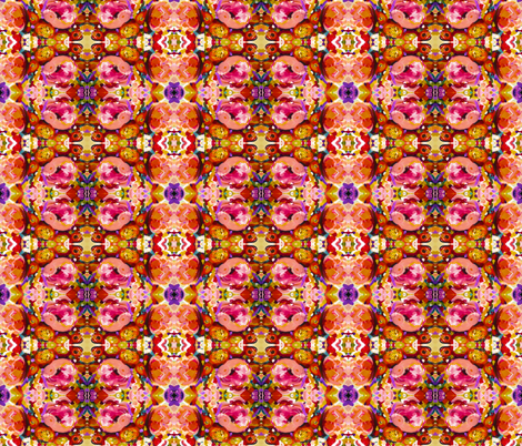 Small Print Bold Peony Floral Pattern in Magenta, Baby Pink, Violet, Gold, Red, and Black