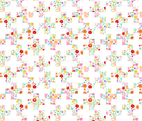 Colorful Floral Doodle Plus Sign Cheater Quilt Print fabric by theartwerks on Spoonflower - custom fabric
