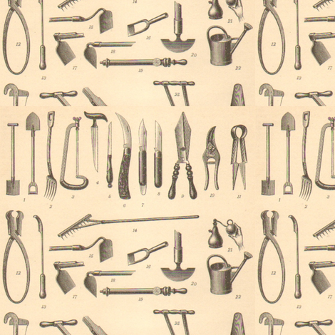 Antique Garden Tools fabric by 23burtonavenue on Spoonflower - custom fabric