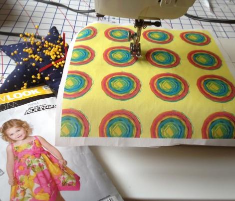 Teeny Tiny Rainbow Circle Pattern on Yellow Background