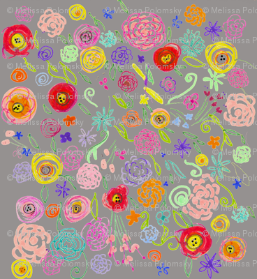 Colorful Floral Doodle on Grey Background
