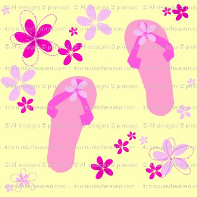 Pink & Yellow - Flip Flop Summer!  - © PinkSodaPop 4ComputerHeaven.com