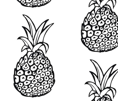 Large Print Pineapple, Black and White fabric by theartwerks on Spoonflower - custom fabric