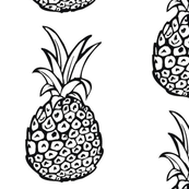 Large Print Pineapple, Black and White