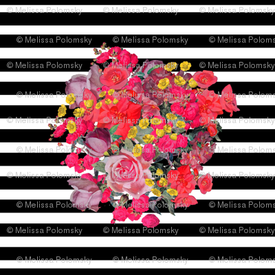 Vintage Inspired Floral Burst with Black Stripe
