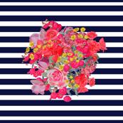 Vintage Inspired Floral Burst on Navy Stripe