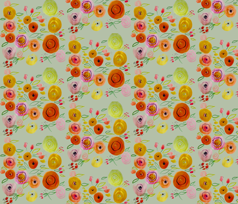 Watercolor Poppies on Light Grey fabric by theartwerks on Spoonflower - custom fabric