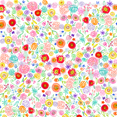 Colorful Floral Doodle - Larger Print