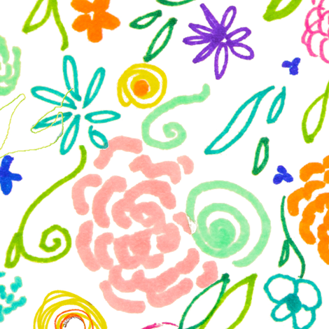 Colorful Floral Doodle - Larger Print fabric by theartwerks on Spoonflower - custom fabric