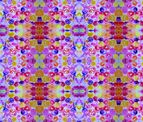 Abstract Floral in Pink, Violet, Yellow, Peach, Red