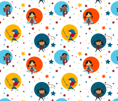 Girls' Powerful Playtime fabric by cricquette on Spoonflower - custom fabric