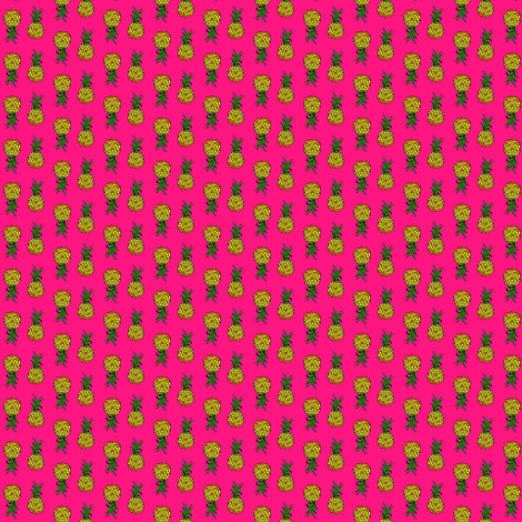 Teeny Pineapple Party on Pink fabric by theartwerks on Spoonflower - custom fabric