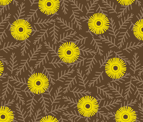 Ice Plant in Yellow and Brown fabric by siya on Spoonflower - custom fabric