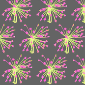 Small Print- Dilly Dalley Springtime Print in Grey, Hot Pink, and Spring Green