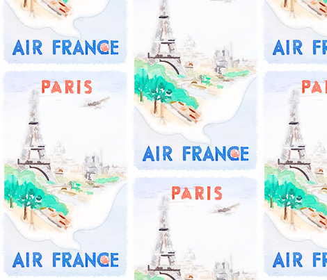 Paris Air France Watercolor Poster fabric by theartwerks on Spoonflower - custom fabric