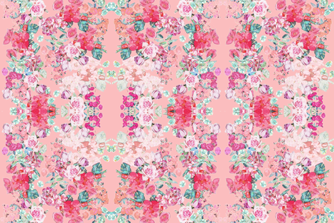 Vintage inspired floral in Peach, Pink, and Mint  fabric by theartwerks on Spoonflower - custom fabric