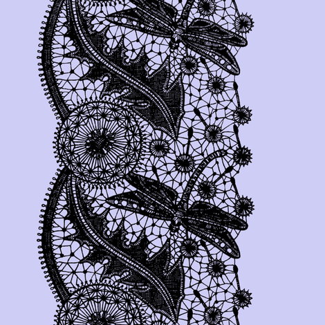 Dragonfly Lace ~ Border Print ~ Periwinkle & Black  fabric by peacoquettedesigns on Spoonflower - custom fabric