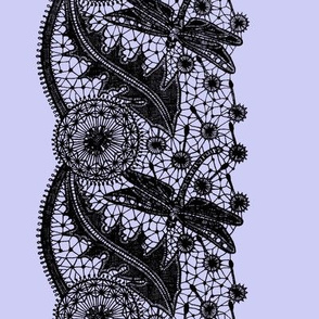 Dragonfly Lace ~ Border Print ~ Periwinkle &amp; Black 