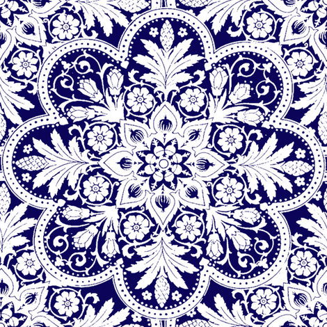 Bombay Blue and White - Two Tone fabric by peacoquettedesigns on Spoonflower - custom fabric