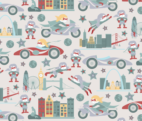 Girl power around the world fabric by ebygomm on Spoonflower - custom fabric