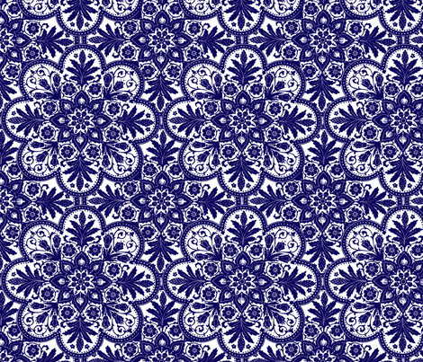 Bombay Blue and White - Two Tone Too fabric by peacoquettedesigns on Spoonflower - custom fabric