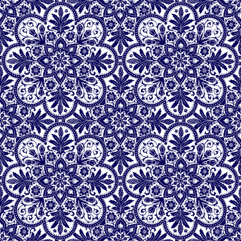 Bourgogne Tile ~  Admiral  ~ Blue and White ~ Small   fabric by peacoquettedesigns on Spoonflower - custom fabric