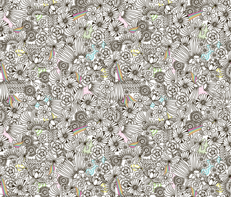 Strong Smart Beautiful ME black  & white flowers fabric by gitchyville_stitches on Spoonflower - custom fabric