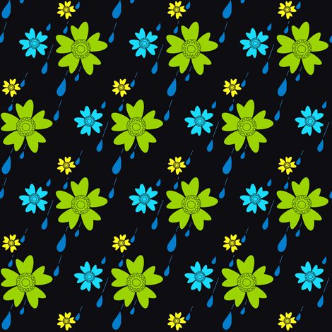 Flowers Love Rain - © PinkSodaPop 4ComputerHeaven.com fabric by pinksodapop on Spoonflower - custom fabric