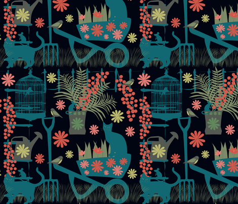 spring gardeningin the dark fabric by kociara on Spoonflower - custom fabric