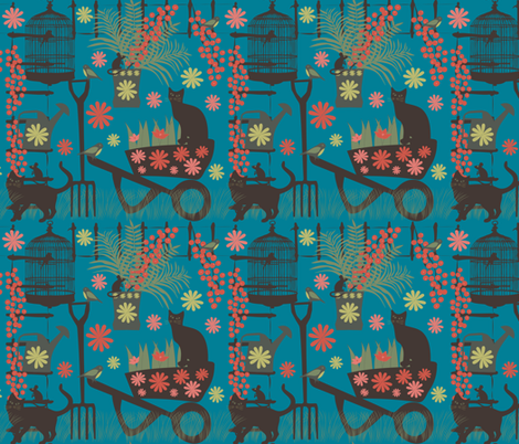 spring gardening on blue fabric by kociara on Spoonflower - custom fabric