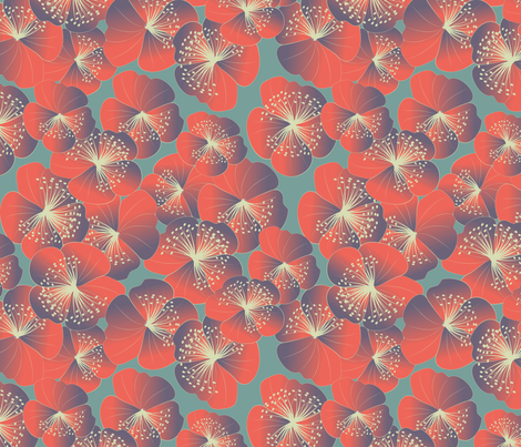 Nasturtia blooms on grey fabric by kociara on Spoonflower - custom fabric