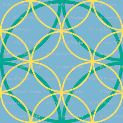 Encircled ~ Emerald, Sky Blue and Lemon