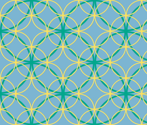 Encircled ~ Emerald, Sky Blue and Lemon fabric by peacoquettedesigns on Spoonflower - custom fabric