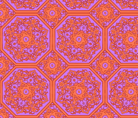 Persian Tile ~ Lavender and Acid Orange fabric by peacoquettedesigns on Spoonflower - custom fabric