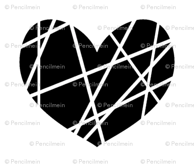 black hearts on white abstract