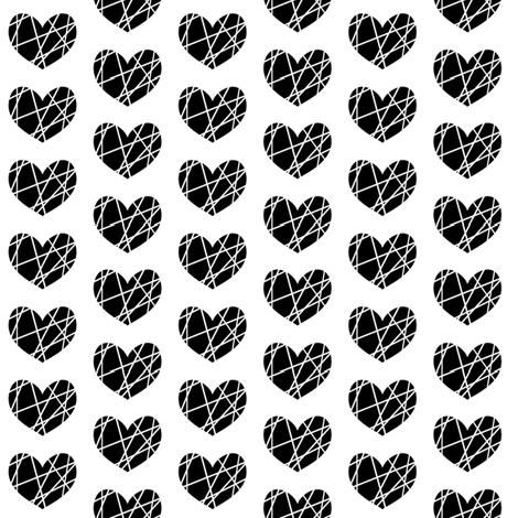 black hearts on white abstract fabric by pencilmein on Spoonflower - custom fabric