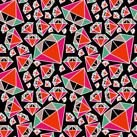 Diamonds on Black fabric by pencilmein on Spoonflower - custom fabric