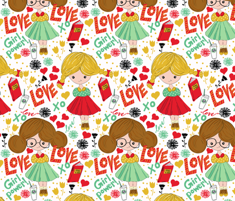 Happy Hipster Girls! fabric by sara_berrenson on Spoonflower - custom fabric
