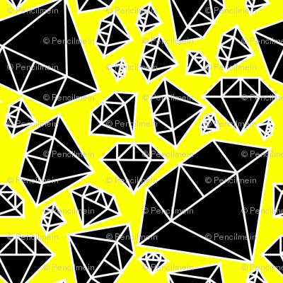 Diamonds Black and White on Yellow