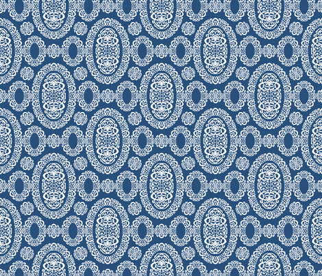 Intricate Cameos in Navy Blue fabric by fridabarlow on Spoonflower - custom fabric