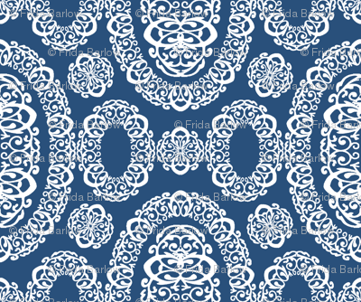 Intricate Cameos in Navy Blue