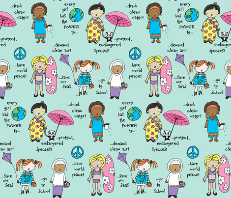 'Ordinary Girl' Power  fabric by pattyryboltdesigns on Spoonflower - custom fabric