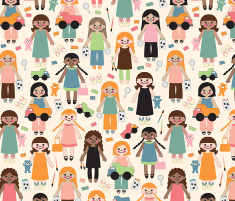 Girl power! fabric by jennartdesigns on Spoonflower - custom fabric