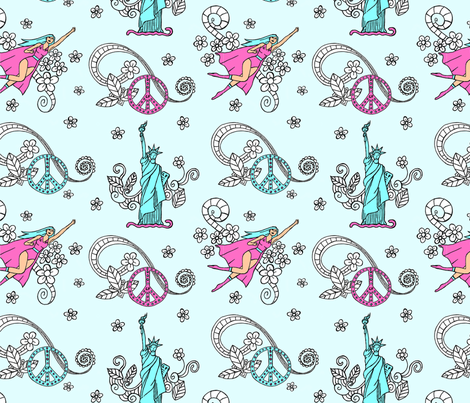 Girls are the beautiful power fabric by fantazya on Spoonflower - custom fabric
