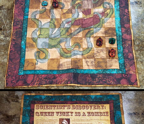 Steampunk Chess and Checkers on 2yds Sateen