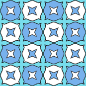 Starry Doodles - Blue on Aqua