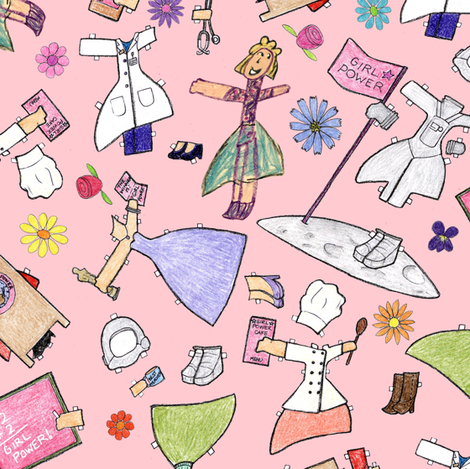 Big Hand Hanna's Girl Power Wardrobe fabric by mbsterling on Spoonflower - custom fabric